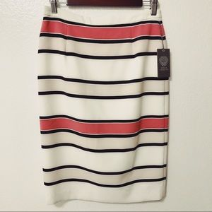 NWT Vince Camuto Skirt Ivory Striped Pencil